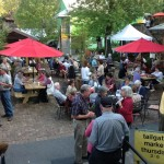 Guests enjoy an outdoor catering event at Hubba Hubba