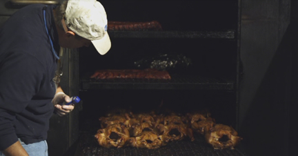Smoked Chicken in the smoker at Hubba Hubba Smokehouse