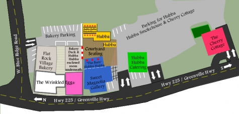 Map of Little Rainbow Row and Hubba Hubba Smokehouse compound